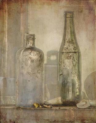 Two Vintage Bottles Poster