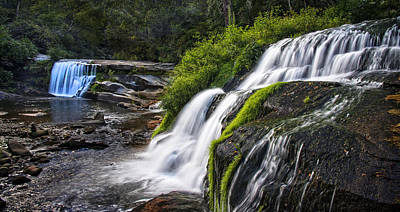 Two Waterfalls At Living Waters Ministry - Mill Shoals Falls Poster by Matt Plyler