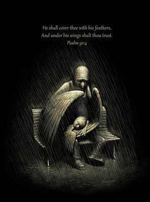 Two Wings And A Prayer - With Psalm 91 Poster by Ben Hartnett