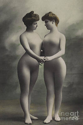 Two Women In Bodystockings Poster by French School
