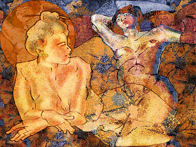 Two Women Relaxing In Spirit  Poster by Mary Ogle