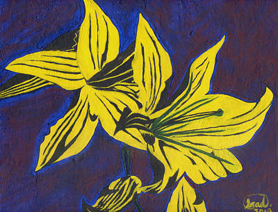 Poster featuring the painting Two Yellow Lilies by Saad Hasnain