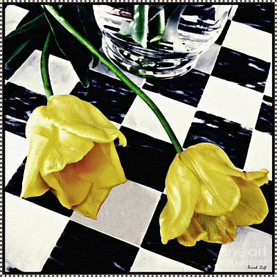 Two Yellow Tulips On The Checker Board Poster by Sarah Loft