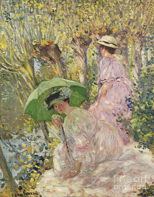 Two Young Girls In A Garden Poster by Frederick Carl Frieseke