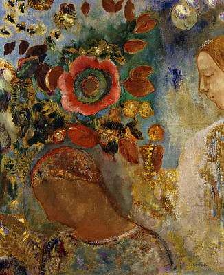 Two Young Girls With Flowers Poster by Odilon Redon