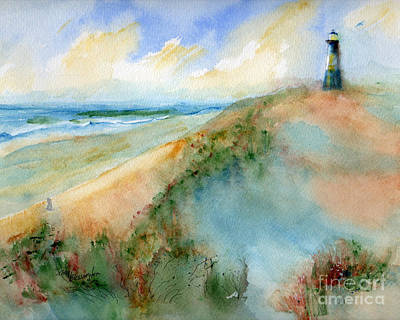 Tybee Dunes And Lighthouse Poster by Doris Blessington