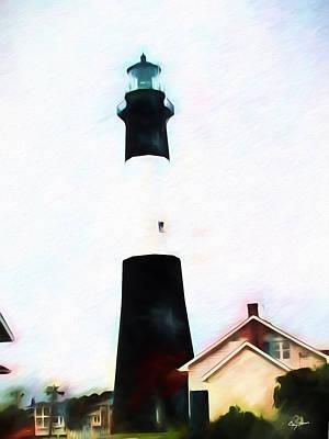 Poster featuring the digital art Tybee Island Light by Barry Jones