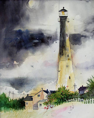 Poster featuring the painting Tybee Lighthouse by Gertrude Palmer