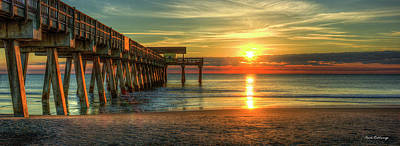 Tybee Pier Panorama Sunrise Art Poster