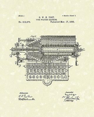 Type Writer 1885 Patent Art Poster by Prior Art Design