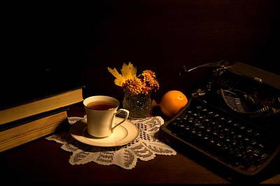 Typewriter And Tea Poster