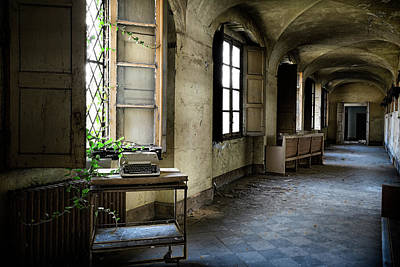 Poster featuring the photograph Typewriter Story Of Abandoned Building - Urbex Exploration by Dirk Ercken