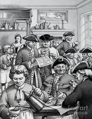 Typical London Coffee House In The 18th Century Poster by Pat Nicolle