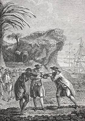 Typical Slave Trading Scene In The 18th Poster by Vintage Design Pics