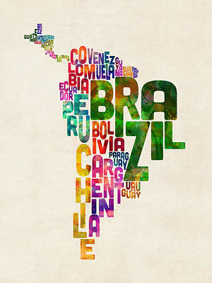 Typography Map Of Central And South America Poster by Michael Tompsett