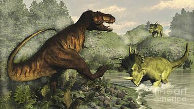 Tyrannosaurus Rex Fighting Poster by Elena Duvernay
