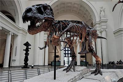 Poster featuring the digital art Tyrannosaurus Rex Sue - Chicago by Daniel Hagerman