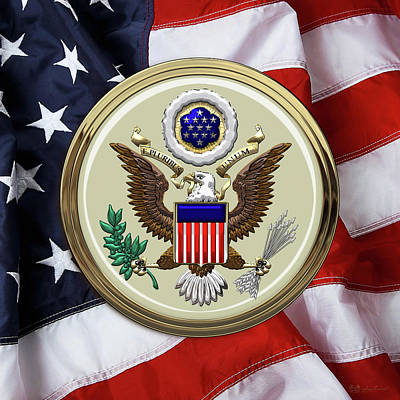 U. S. A. Great Seal Over American Flag Poster