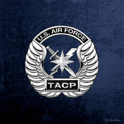 U. S.  Air Force Tactical Air Control Party -  T A C P  Badge Over Blue Velvet Poster by Serge Averbukh