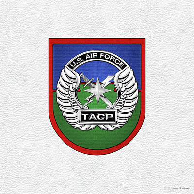 U. S.  Air Force Tactical Air Control Party -  T A C P  Beret Flash With Crest Over White Leather Poster by Serge Averbukh