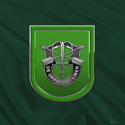 U. S.  Army 10th Special Forces Group - 10 S F G  Beret Flash Over Green Beret Felt Poster by Serge Averbukh