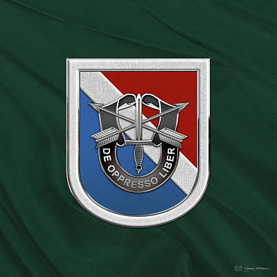 U. S.  Army 11th Special Forces Group - 11 S F G  Beret Flash Over Green Beret Felt Poster