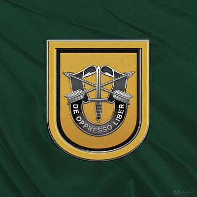 U. S.  Army 1st Special Forces Group - 1  S F G  Beret Flash Over Green Beret Felt Poster by Serge Averbukh