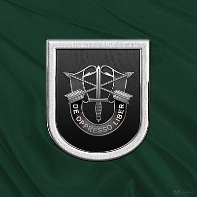U. S.  Army 5th Special Forces Group - 5 S F G  Beret Flash Over Green Beret Felt Poster by Serge Averbukh