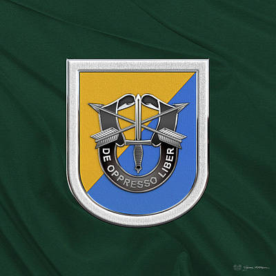 U. S.  Army 8th Special Forces Group - 8 S F G  Beret Flash Over Green Beret Felt Poster by Serge Averbukh