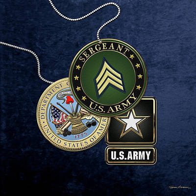 U. S. Army Sergeant  -  S G T  Rank Insignia With Army Seal And Logo Over Blue Velvet Poster by Serge Averbukh
