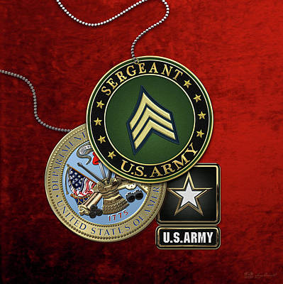 U. S. Army Sergeant  -  S G T  Rank Insignia With Army Seal And Logo Over Red Velvet Poster by Serge Averbukh