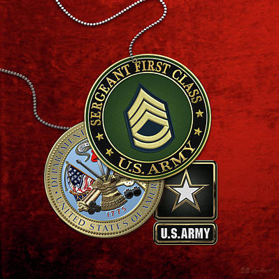 U. S. Army Sergeant First Class   -  S F C  Rank Insignia With Army Seal And Logo Over Red Velvet Poster by Serge Averbukh