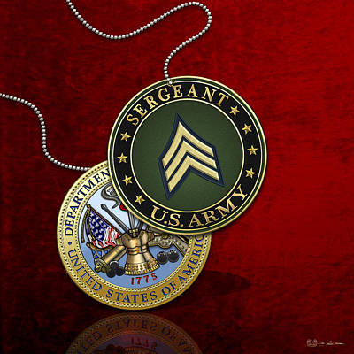 U. S. Army Sergeant - S G T Rank Insignia And Army Seal Over Red Velvet Poster by Serge Averbukh