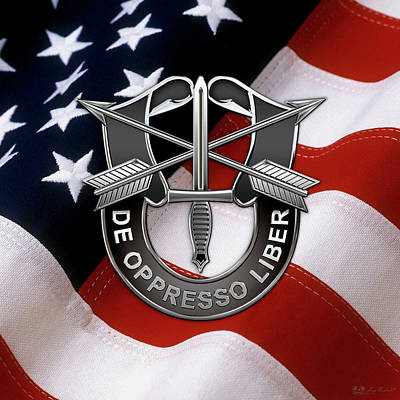 U. S.  Army Special Forces  -  Green Berets D U I Over American Flag Poster by Serge Averbukh
