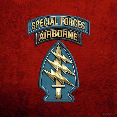 U. S.  Army Special Forces  -  Green Berets S S I Over Red Velvet Poster by Serge Averbukh