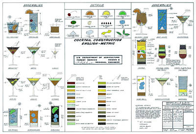 U. S. Government Cocktail Engineering Drawing  1974 Poster
