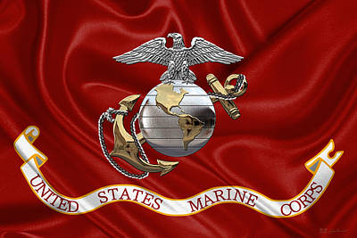 U. S.  Marine Corps - C O And Warrant Officer Eagle Globe And Anchor Over Corps Flag Poster