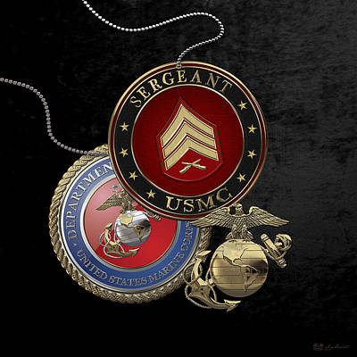 U. S. Marines Sergeant -  U S M C  Sgt Rank Insignia Over Black Velvet Poster