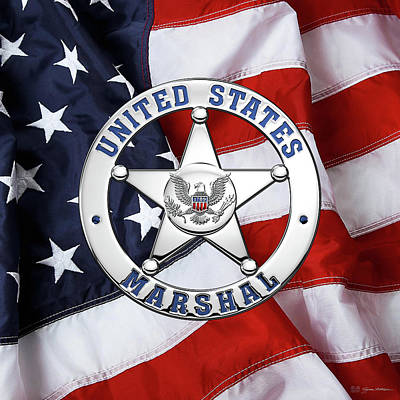 U. S. Marshals Service  -  U S M S  Badge Over American Flag Poster by Serge Averbukh