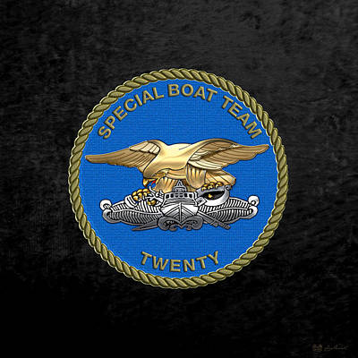 U. S. Navy S W C C - Special Boat Team 20   -  S B T 20   Patch Over Black Velvet Poster by Serge Averbukh