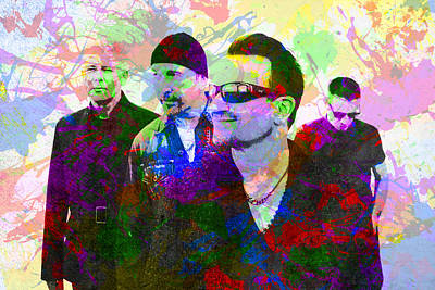 U2 Band Portrait Paint Splatters Pop Art Poster