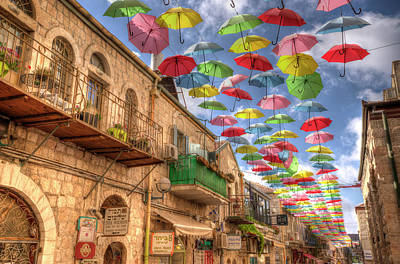 Umbrellas Over Jerusalem Poster