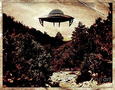 Ufo Hovering Pop Art By Raphael Terra Poster