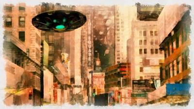 Ufo In The City Poster by Esoterica Art Agency