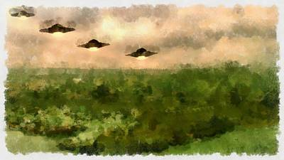 Ufo Invasion Over Landscape Poster