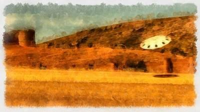 Ufo Near Castle Poster by Esoterica Art Agency