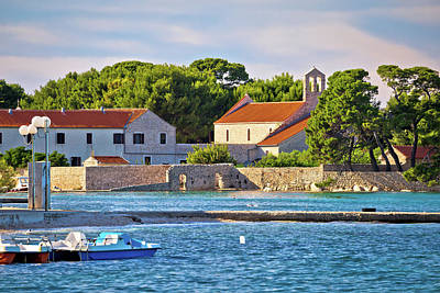 Ugljan Island Village Old Church And Beach View Poster by Brch Photography