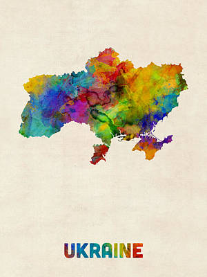Ukraine Watercolor Map Poster by Michael Tompsett
