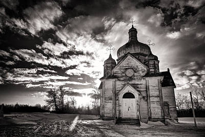 Ukranian Church Bw Sunset Poster by Ian MacDonald
