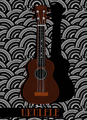 Ukulele Pop Art Deco Swing Poster by Cecely Bloom